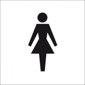 Panneau en relief et en braille Toilettes Femmes
